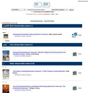 Screenshot of library catalogue