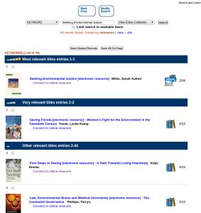 Screenshot of library catalogue